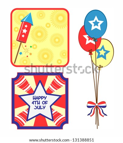 july 4th banner and icon set 2