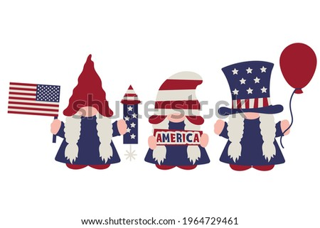 July 4th Gnome Girls, American Patriotic Day party gnomes in USA flag colours with balloon, firework, America banner, flag in hands as patriotic symbol, for Independence Day party. Vector illustration