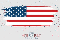 July 4th Independence day celebration banner. USA national holiday design concept with a flag. Vector illustration.