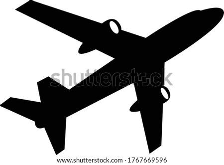 Jumbo Jet Taking Off Silhouette Isolated On White Background - Passenger Airplane Icon