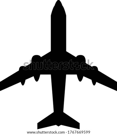 Jumbo Jet Travel Icon Isolated On White Background - Passenger Airplane Silhouette