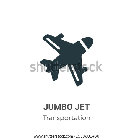 Jumbo jet vector icon on white background. Flat vector jumbo jet icon symbol sign from modern transportation collection for mobile concept and web apps design.