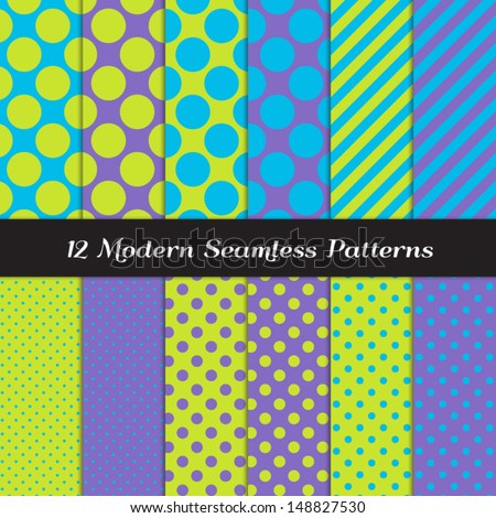 Jumbo Polka Dots, Small Polka Dots and Diagonal Stripes Patterns in Blue, Purple and Lime Green. Perfect for Kids Monster Party or Halloween Backgrounds. Pattern Swatches made with Global Colors.