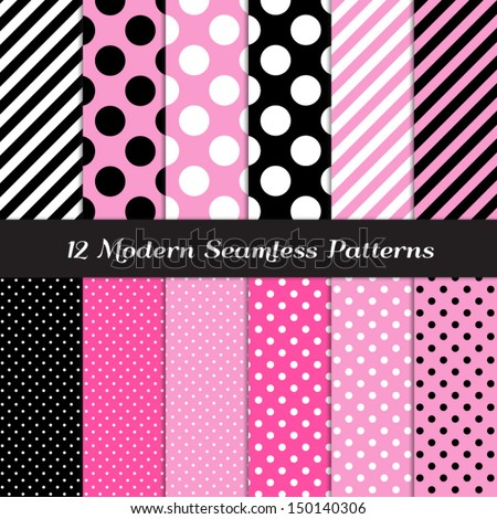 Jumbo Polka Dots, Small Polka Dots and Diagonal Stripes Patterns in Pink, Black, White and Deep Pink. Perfect for Chic Paris or Pink Pirate party background. Pattern Swatches made with Global Colors.