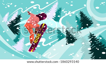 jump of snowboarder against the