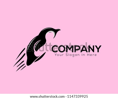 jump penguin animal fast logo