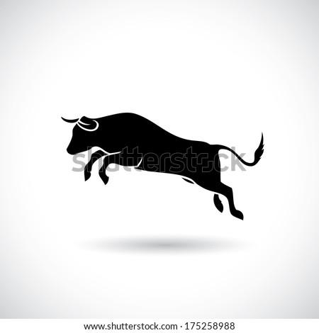 Jumping bull - vector illustration