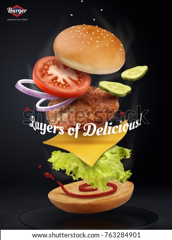 Jumping Burger ads, delicious and attractive hamburger with refreshing ingredients in 3d illustration on black background