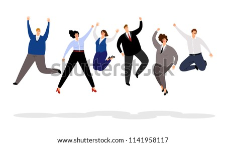 Jumping business people. Happy office people winning vector illustration, joyful and smiling cartoon businessmen and businesswomen team