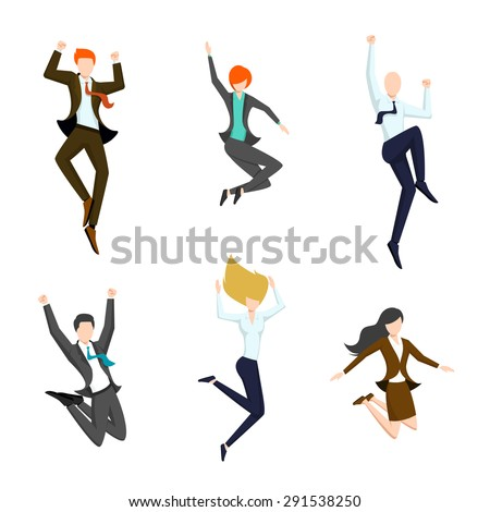 jumping business people in the