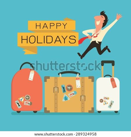 Jumping businessman in happy feeling with luggage for holiday traveling. Flat design.