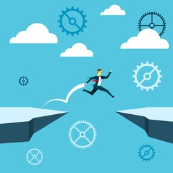 Jumping. Businessman jump over the cliff. Concept business vector illustration.
