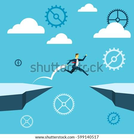 jumping businessman jump over