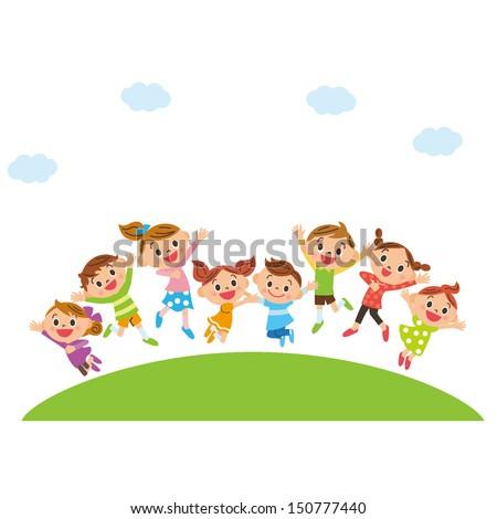 stock-vector-jumping-children