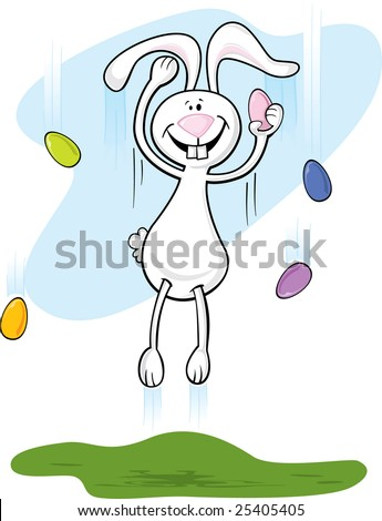 Jumping Easter Bunny - click on my name to see other bunnies in the set - stock vector
