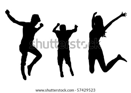 jumping family silhouette