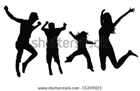 jumping family vector - stock vector