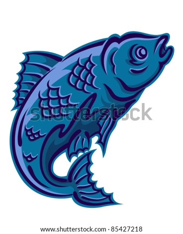 Jumping fish as a fishing symbol isolated on white background