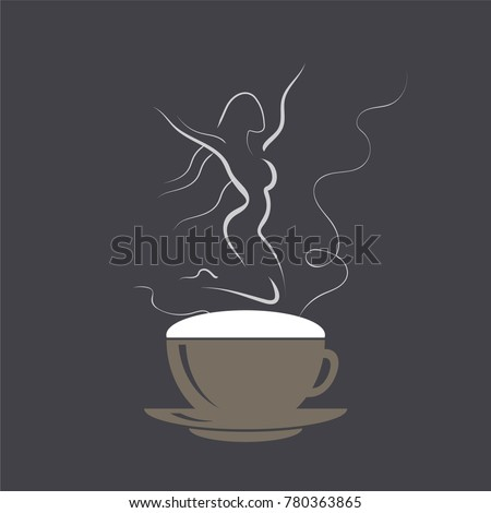 stock-vector-jumping-girl-on-cappuccino-foam-coffee-cup-with-dancing-woman-dancer-vector-illustration-logo