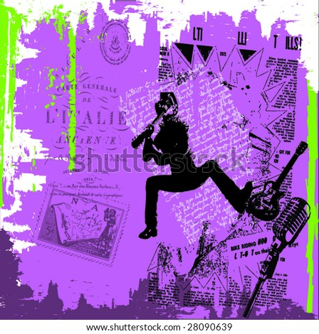 jumping guitarist on grunge background illustration