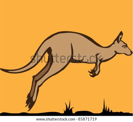 Jumping kangaroo vector artwork
