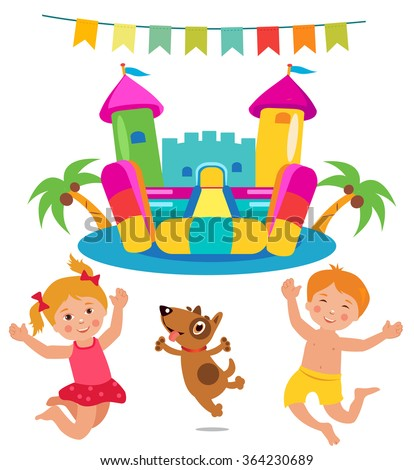 Jumping Kids And Dog And Bouncy Castle Vector Set. Cartoon Illustrations On A White Background. Bouncy Castle and Kids.