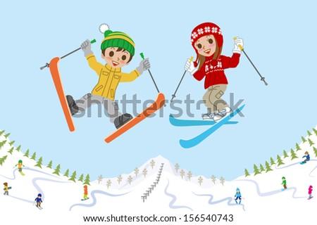 jumping kids on ski slope