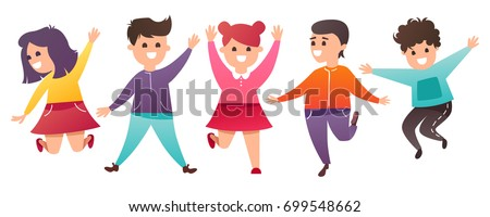 jumping kids. Vector cartoon illustration