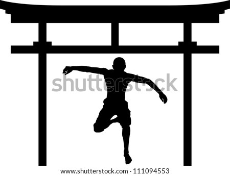jumping man in torii gate. vector illustration