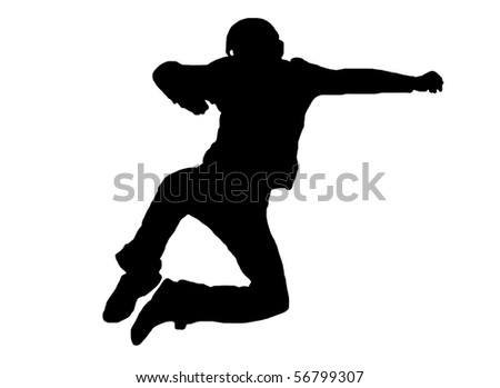 jumping man silhouette isolated on white