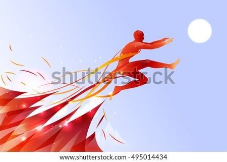 jumping man with line art