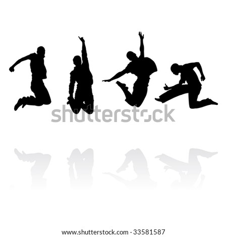 jumping men silhouettes with reflection, vector illustration