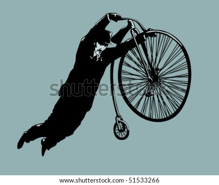 jumping on a bicycle. - stock vector