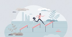 Jumping over hurdles as business challenge obstacle leap tiny person concept. Businessman overcome problems and barriers as effort for company success vector illustration. Difficulties with solution.
