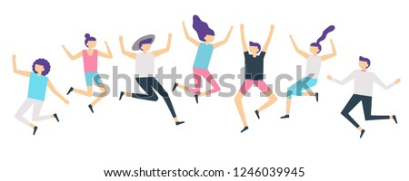 Jumping people. Active adults friends group jump. Happy female and male characters jumped and laugh, excited joyful jumping team flat vector illustration isolated icons set