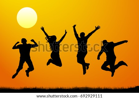 jumping people at sunset