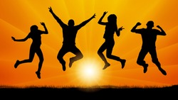 Jumping people friends on the evening sunset, silhouette vector