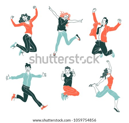 Jumping people isolated on white background.various poses jumping people character. hand drawn style vector design illustrations.happiness, freedom, motion and people concept.flat simple set of people