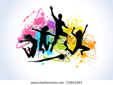 Jumping people set against spray paint elements. - stock vector