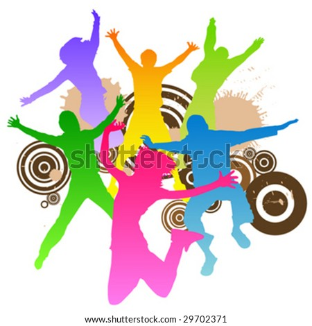 jumping peoples retro design vector