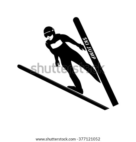 jumping skier silhouette