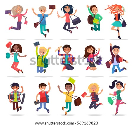 Jumping smiling people with bags and books in raised hands. Collection of students full of joy and delight about passing exams well on white. Vector illustration of students freedom and happiness