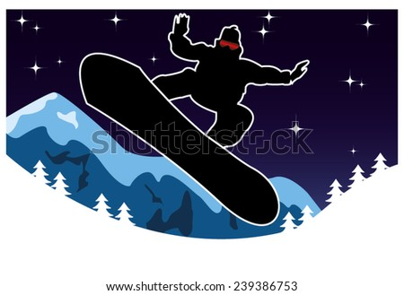jumping snowboarder in the