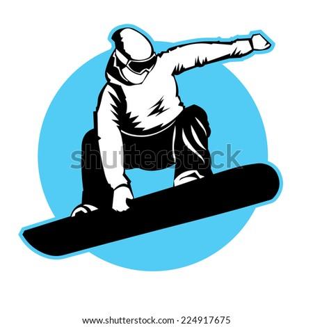 jumping snowboarder vector