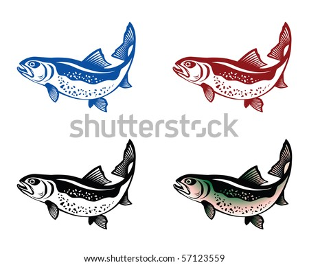 Jumping trout - stock vector