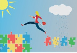 Jumping woman from bad to good puzzle pieces. Concept with different women in different situations. Vector illustration.