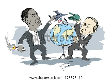 June 14 2014 A vector illustration of a portrait of President Obama and Vladimir Putin