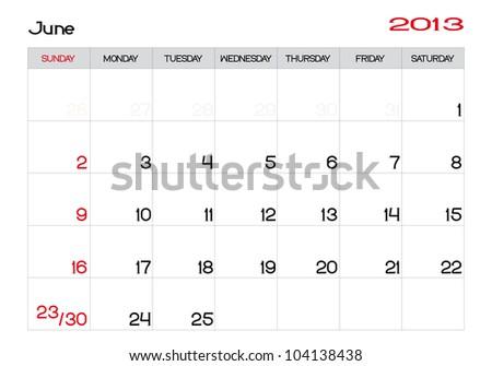 June 2013 Calendar in English