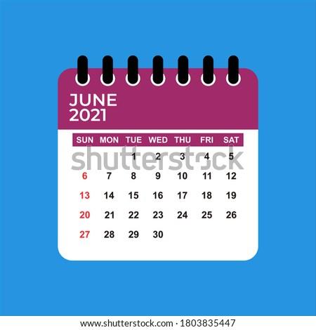 June 2021 Calendar. June 2021 Calendar vector illustration. Wall Desk Calendar Vector Template, Simple Minimal Design. Wall Calendar Template For June 2021.