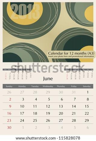 June. 2013 Calendar. Optima fonts used. A3